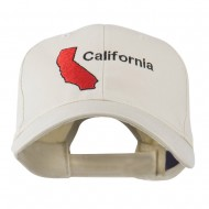 California Image with Wording Embroidered Cap - Stone
