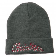 Christmas Embroidered Long Cuff Beanie - Dk Grey