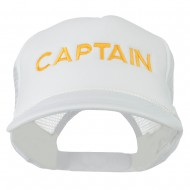 Youth Captain Embroidered Foam Mesh Back Cap - White