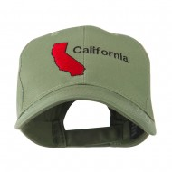 California Image with Wording Embroidered Cap - Olive