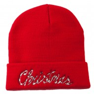 Christmas Embroidered Long Cuff Beanie - Red