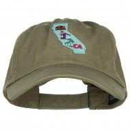 USA State California Patched Low Profile Cap - Olive