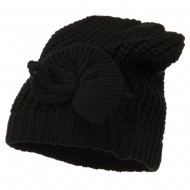 Big Crown Crocheted Bow Beanie - Black
