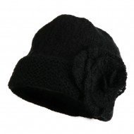 Ladies Flower Accent Cuff Beanie - Black