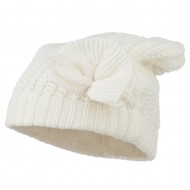 Big Crown Crocheted Bow Beanie - Ivory