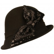 Cloche with Big Sequin Bow - Brown
