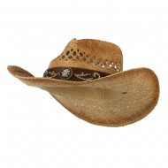 Cowboy Hat with Cowhide Band - Brown