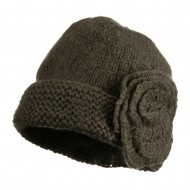 Ladies Flower Accent Cuff Beanie - Mocha