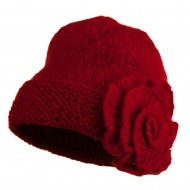 Ladies Flower Accent Cuff Beanie - Red