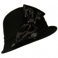 Cloche with Big Sequin Bow - Black