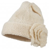 Ladies Flower Accent Cuff Beanie - Cream