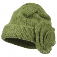 Ladies Flower Accent Cuff Beanie - Green