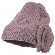 Ladies Flower Accent Cuff Beanie - Lilac