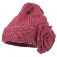 Ladies Flower Accent Cuff Beanie - Pink