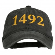1492 Columbus Day Embroidered Washed Cap - Black