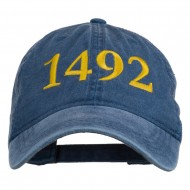 1492 Columbus Day Embroidered Washed Cap - Navy