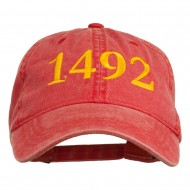 1492 Columbus Day Embroidered Washed Cap - Red