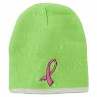 Breast Cancer Embroidered Short Trim Beanie - Lime White