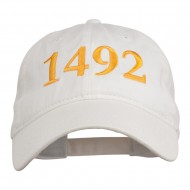 1492 Columbus Day Embroidered Washed Cap - White