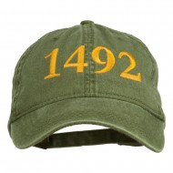 1492 Columbus Day Embroidered Washed Cap - Olive Green