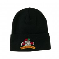 Merry Christmas Santa Claus Embroidered Beanie - Black