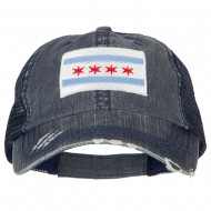Chicago Flag Embroidered Low Profile Cotton Mesh Cap - Navy
