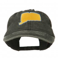 Connecticut State Map Embroidered Washed Cap - Black