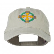Celtic Cross Embroidered Washed Cap - Stone