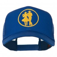Cowgirl Cowboy Dancing Embroidered Mesh Back Cap - Royal