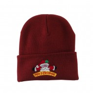 Merry Christmas Santa Claus Embroidered Beanie - Maroon