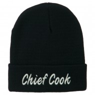 Chief Cook Embroidered Long Beanie - Navy