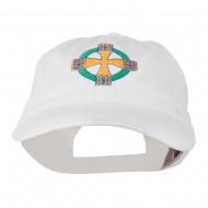 Celtic Cross Embroidered Washed Cap - White