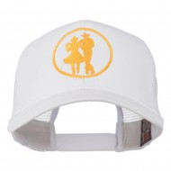 Cowgirl Cowboy Dancing Embroidered Mesh Back Cap - White