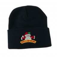 Merry Christmas Santa Claus Embroidered Beanie - Navy