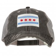 Chicago Flag Embroidered Low Profile Cotton Mesh Cap - Black