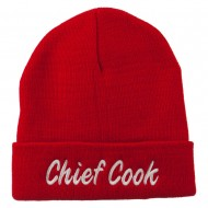 Chief Cook Embroidered Long Beanie - Red