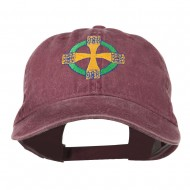 Celtic Cross Embroidered Washed Cap - Maroon
