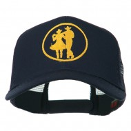 Cowgirl Cowboy Dancing Embroidered Mesh Back Cap - Navy