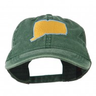 Connecticut State Map Embroidered Washed Cap - Dark Green