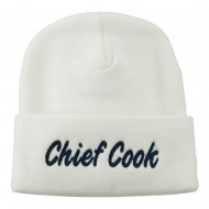 Chief Cook Embroidered Long Beanie - White