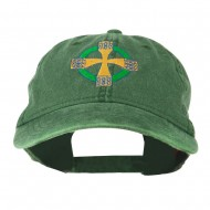 Celtic Cross Embroidered Washed Cap - Dark Green
