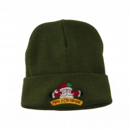 Merry Christmas Santa Claus Embroidered Beanie - Olive