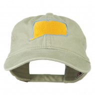 Connecticut State Map Embroidered Washed Cap - Stone Grey