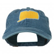 Connecticut State Map Embroidered Washed Cap - Navy