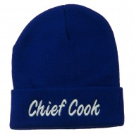 Chief Cook Embroidered Long Beanie - Royal