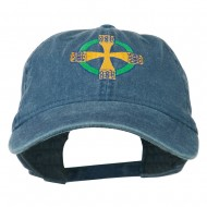 Celtic Cross Embroidered Washed Cap - Navy
