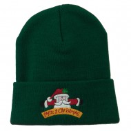 Merry Christmas Santa Claus Embroidered Beanie - Green