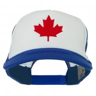 Canada's Maple Leaf Embroidered Foam Front Mesh Back Cap - Royal White