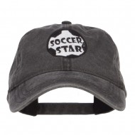 Soccer Star Embroidered Washed Cap - Black