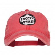 Soccer Star Embroidered Washed Cap - Red